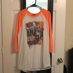 Orange sleeve baseball tee